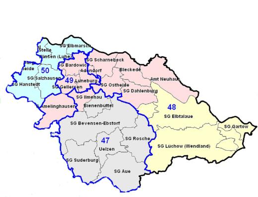Karte Wahlkreise 47 48 49 50 Klein