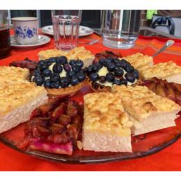 Kuchen mit Pflaumen und Heidelbeeren