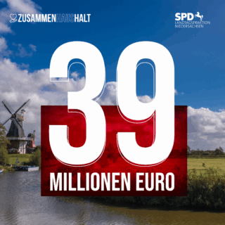 Windmühle an Fluss und Feld, 39 Millionen Euro in großen Buchstaben
