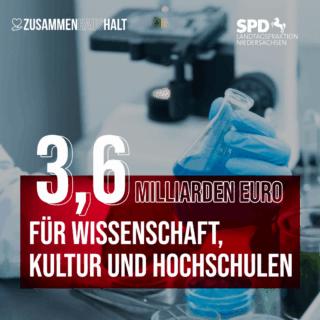 Reagenzglas, Hand mit Handschuhen 3,6 Milliarden Euro für Wissenschaft, Kultur und Hochschulen als Text