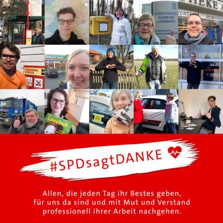 #SPDsagtDANKE Aktion Unterbezirk Lüneburg
