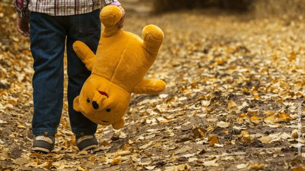 Kind mit Teddybär im Wald