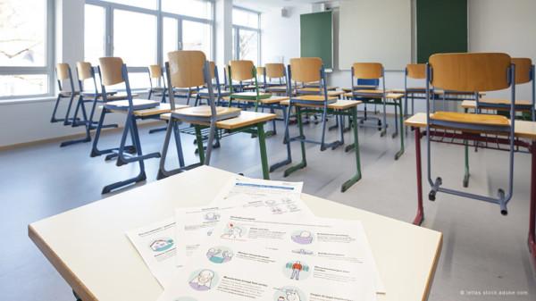 Klassenzimmer die Stühle stehen auf den Tischen
